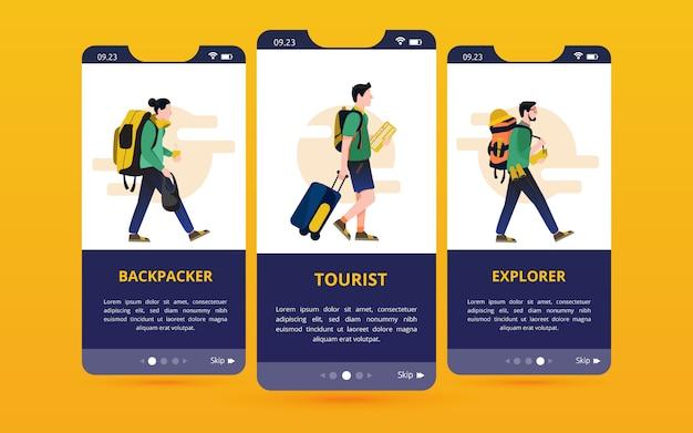 Una serie di interfacce utente sullo schermo con illustrazioni di tipo viaggiatore Vettore Premium