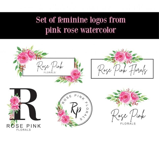 Una serie di loghi femminili da acquerello rosa rosa Vettore Premium