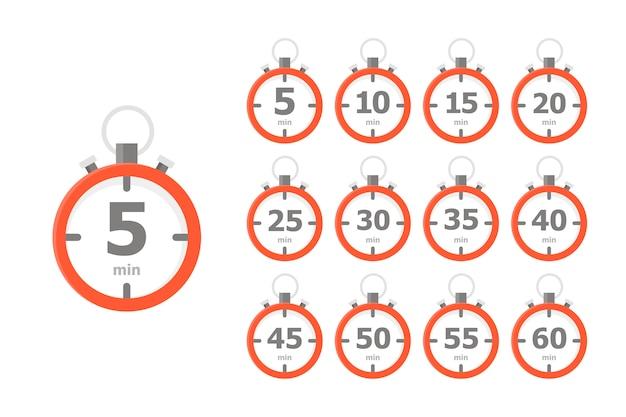 Una serie di orologi rossi, ognuno dei quali mostra un intervallo di tempo di 5 minuti Vettore Premium