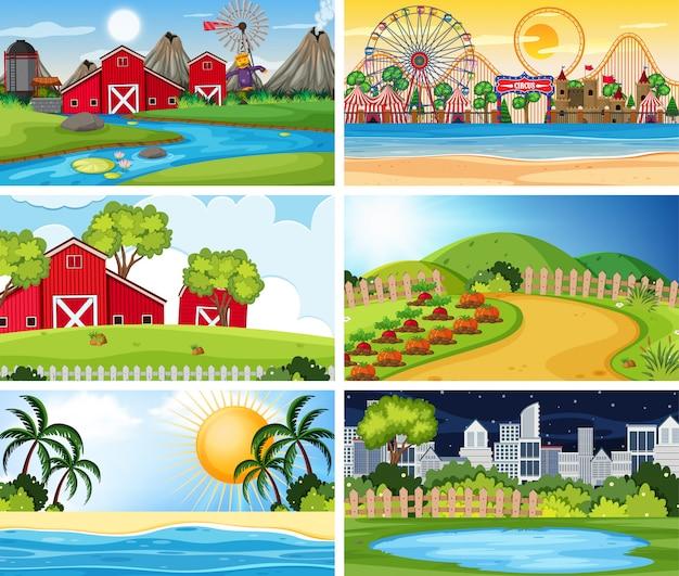 Una serie di scene all'aperto tra cui fattoria Vettore Premium