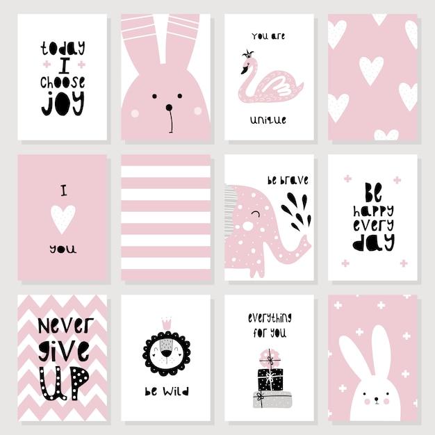 Una serie di simpatici cartoncini rosa e poster con animali Vettore Premium
