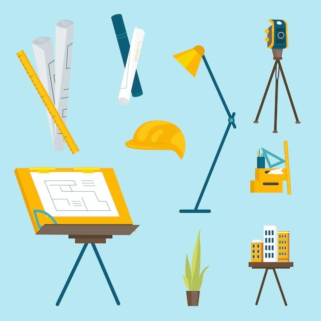 Una serie di strumenti di lavoro per l'architetto al lavoro Vettore Premium