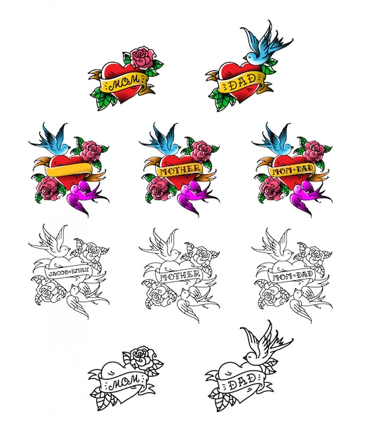 Una serie di tatuaggi congratulazioni per mamma e papà Vettore Premium