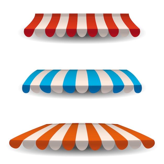 Una serie di tende da sole a strisce rosse, blu, arancioni, pensiline per il negozio. tendalino per bar e ristoranti di strada. Vettore Premium
