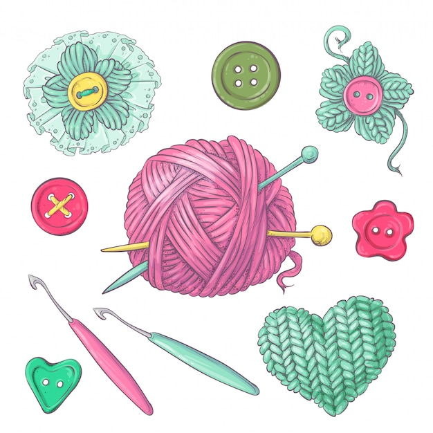 Una serie di vestiti lavorati a maglia gli aghi per maglieria Vettore Premium