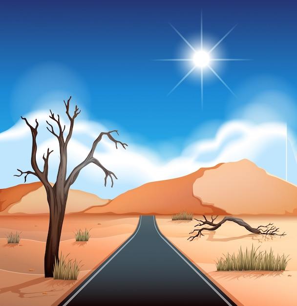 Una strada al deserto Vettore Premium