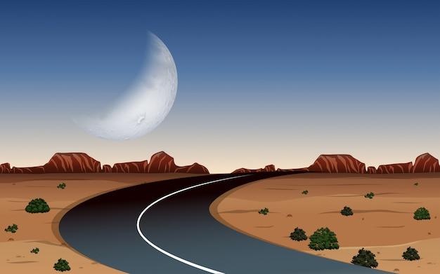 Una strada alla notte del deserto Vettore Premium