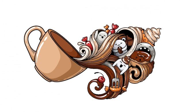 Una tazza di caffè con le palme. Vettore Premium