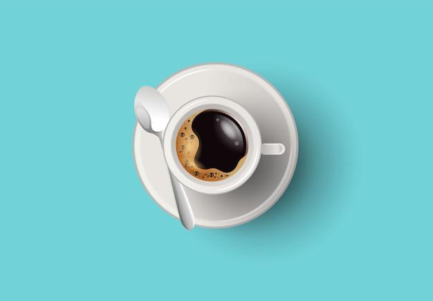 Una tazza di caffè e piattino, vista dall'alto, vettore realistico Vettore Premium