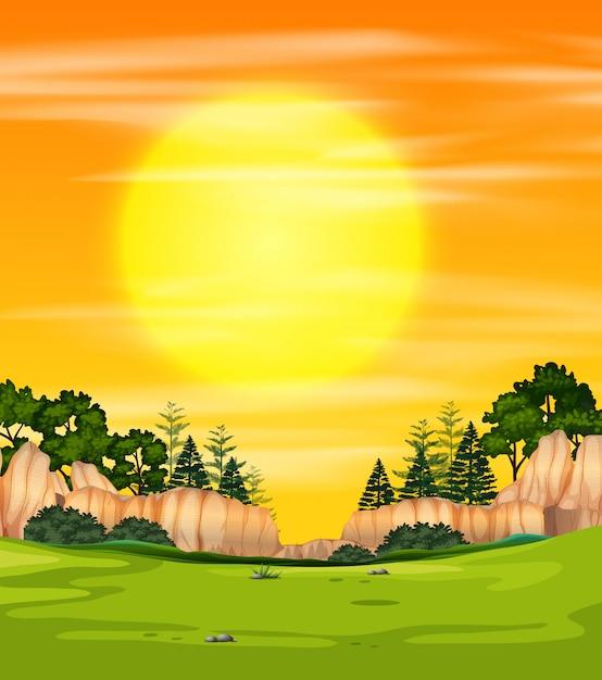 Una vista natura tramonto Vettore gratuito