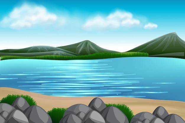 Una vista sul lago natura Vettore Premium