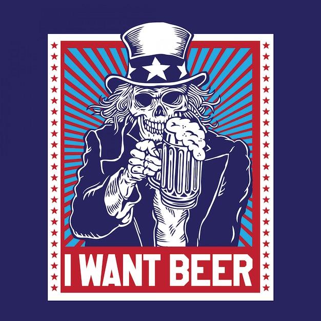 Uncle sam skull beer Vettore Premium