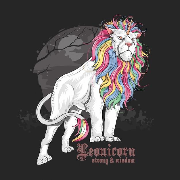 Unicorn lion full color arcobaleno Vettore Premium