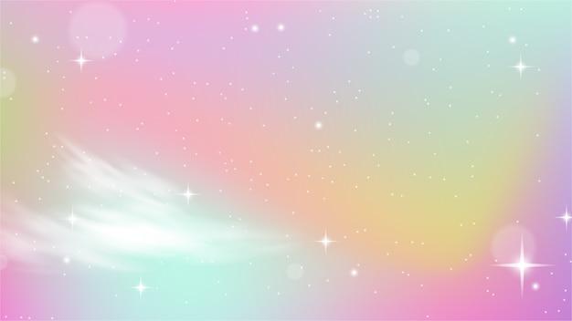 Unicorn sky colorful gradient Vettore Premium