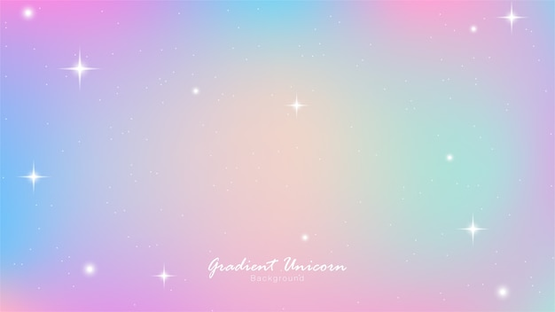Unicorn sky colorful gradient Vettore Premium