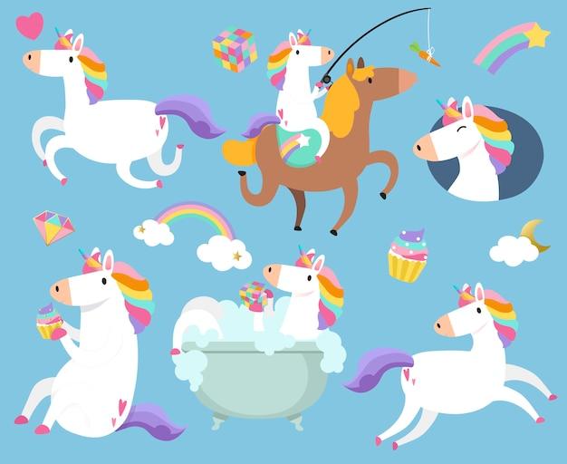 Unicorni carino con vettore di adesivi elemento magico Vettore gratuito