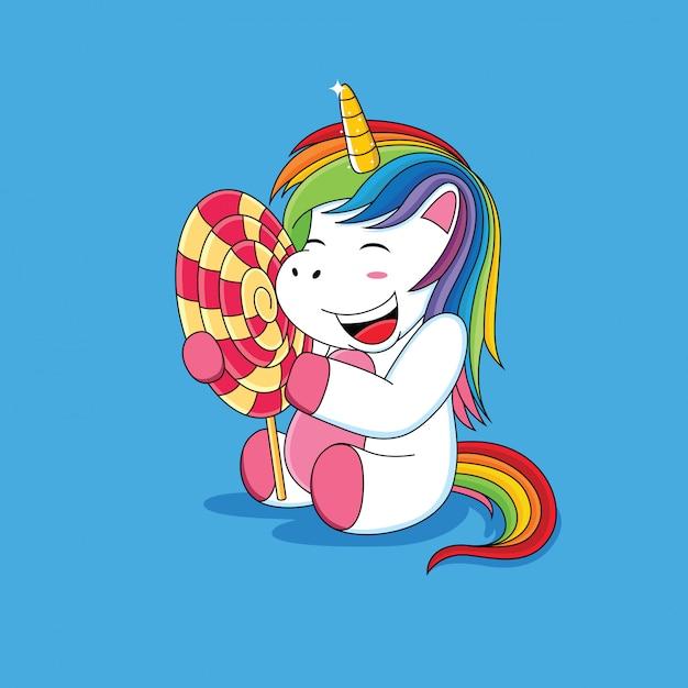 Unicorni che sono felici con il fumetto di lecca-lecca Vettore Premium