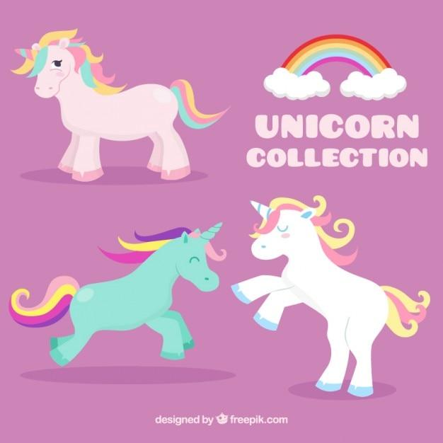 Unicorni Colorati Bel Set Scaricare Vettori Gratis