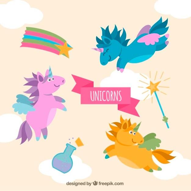 Unicorni Colorati Divertente Con Gli Elementi Scaricare Vettori Gratis