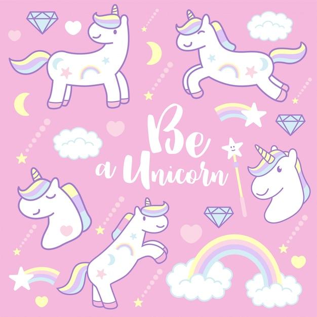 Unicorni svegli del fumetto, illustrazione di vettore Vettore Premium