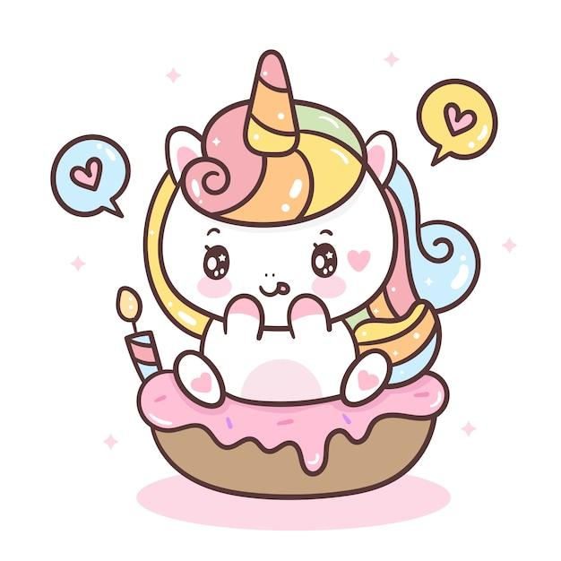 Unicornio carino su cupcake compleanno Vettore Premium