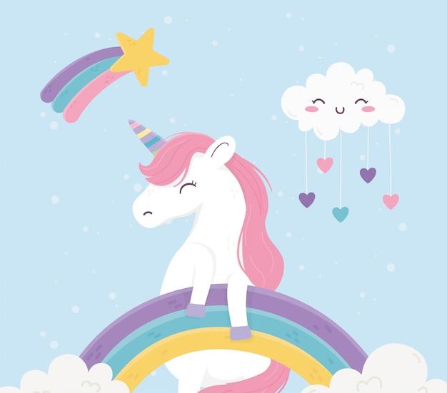 Unicorno arcobaleni nuvole cuori amore fantasia sogno magico illustrazione simpatico cartone animato Vettore Premium