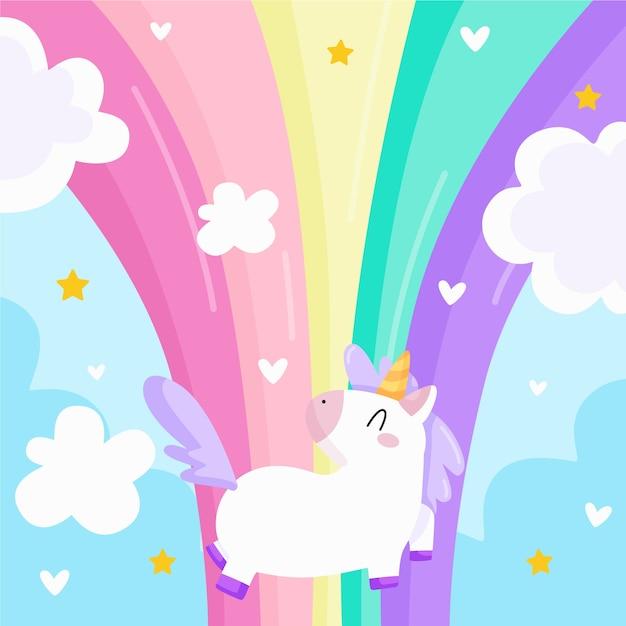 Unicorno arcobaleno e fiaba Vettore gratuito
