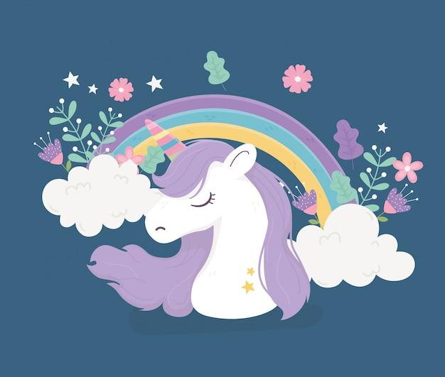 Unicorno arcobaleno nuvole fiori fantasia magica simpatico fumetto illustrazione Vettore Premium