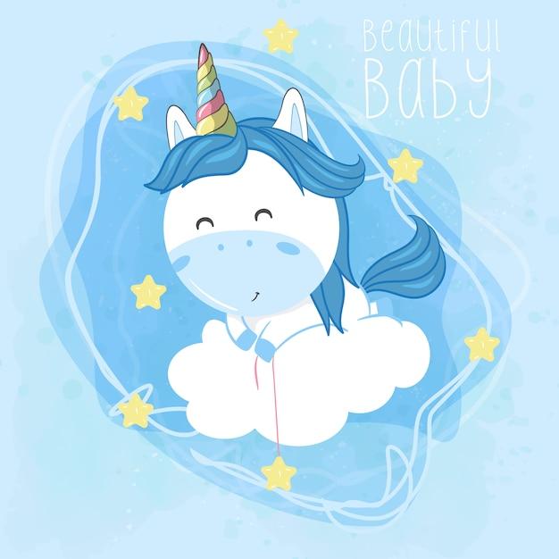 Unicorno bambino volare con nuvole e stelle Vettore Premium