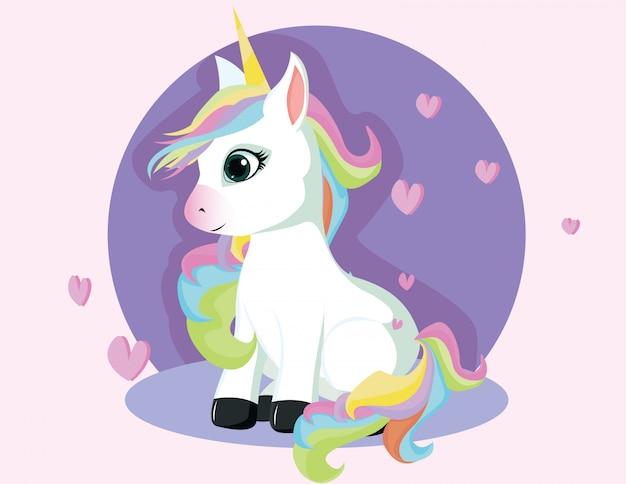 Unicorno carino con sedersi in posa Vettore Premium