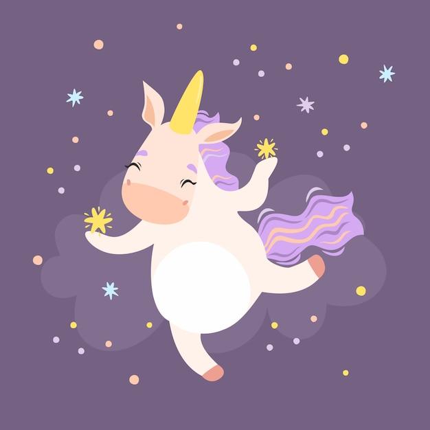 Unicorno carino con stelle Vettore gratuito