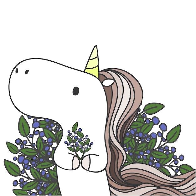 Unicorno carino e disegnato e foglie. Vettore Premium