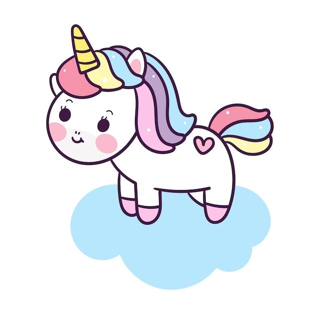 Unicorno carino vettoriale su nuvola Vettore Premium