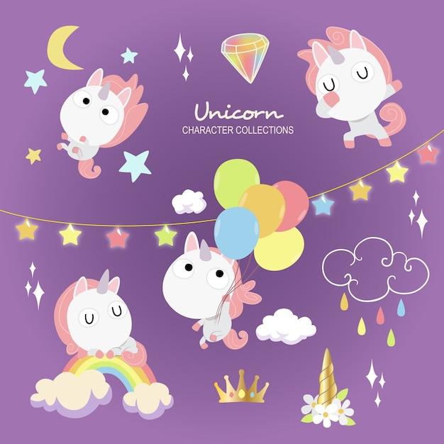 Unicorno carino Vettore Premium