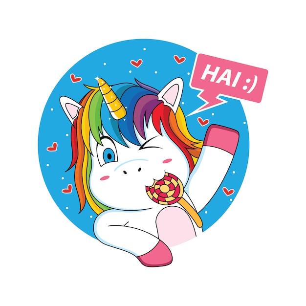 Unicorno che sta salutando con un cartone animato di lecca-lecca Vettore Premium