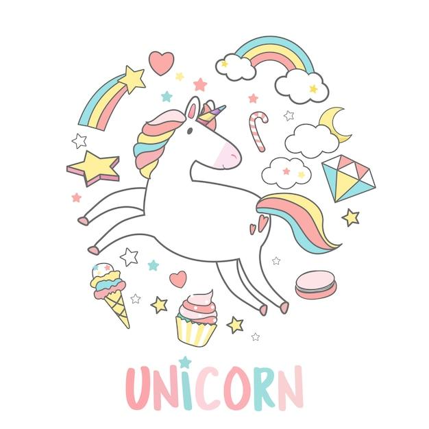 Unicorno con vettore di elementi magici Vettore gratuito