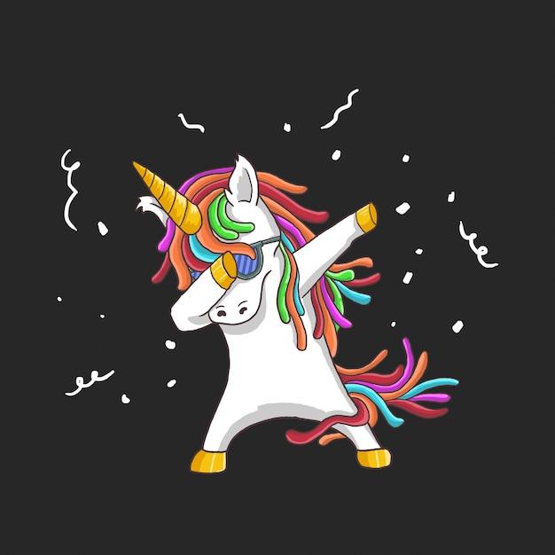 Unicorno cool dance Vettore Premium