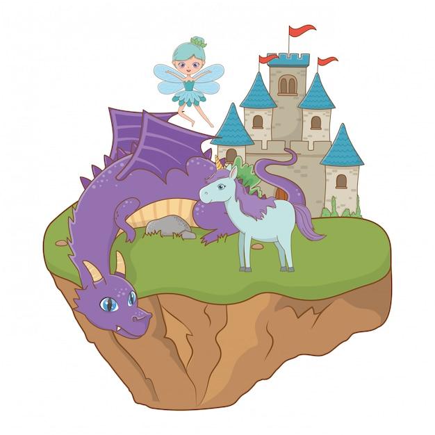 Unicorno del drago e fata dell'illustrazione di favola Vettore Premium