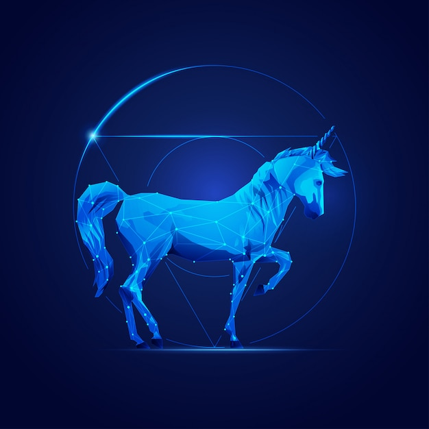 Unicorno di fantascienza Vettore Premium