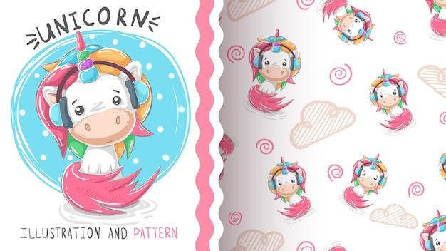 Unicorno di musica carino teddy - seamless Vettore Premium