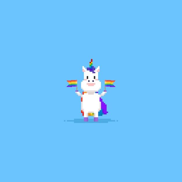 Unicorno di pixel che tiene la bandiera arcobaleno Vettore Premium