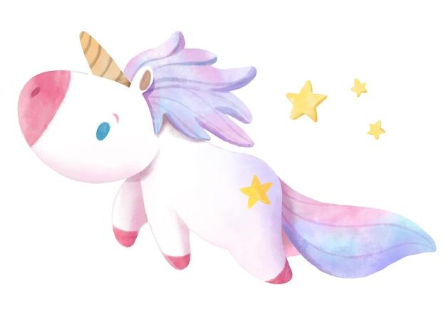 Unicorno disegnato a mano dell'acquerello. Vettore Premium
