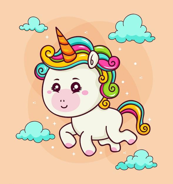 Unicorno disegnato a mano nel cielo Vettore gratuito
