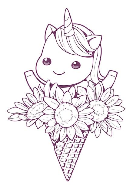 Unicorno e girasole nel cono doodle Vettore Premium