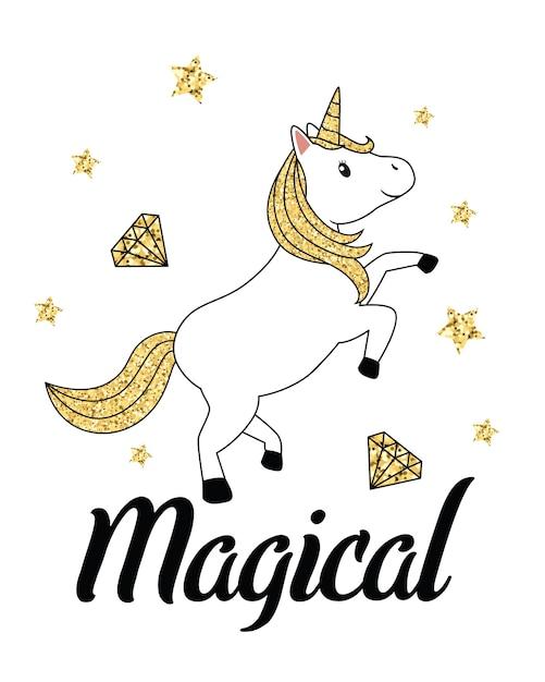 Unicorno Glitter Oro Isolato Su Sfondo Bianco Scaricare Vettori