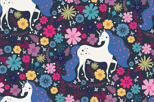 Unicorno magico circondato da bellissimi fiori Vettore Premium