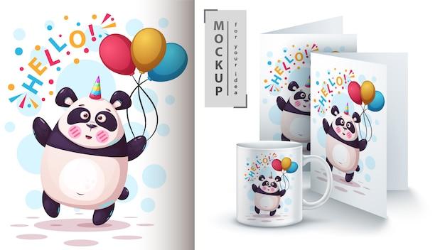 Unicorno, orso, panda e merchandising Vettore Premium