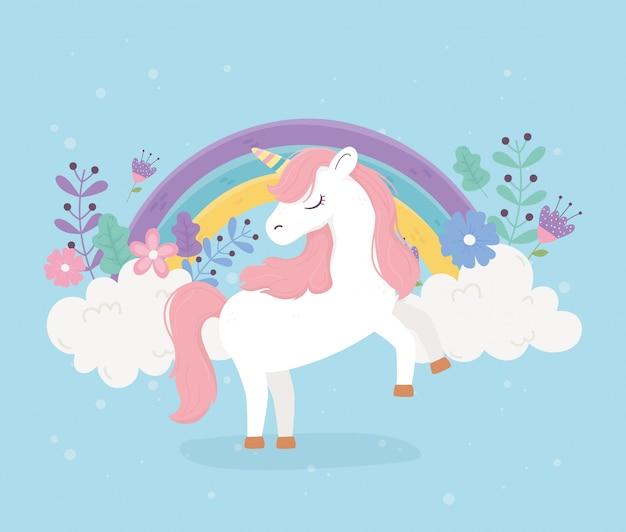 Unicorno rosa capelli fiori arcobaleno fantasia sogno magico simpatico cartone animato sfondo blu illustrazione Vettore Premium