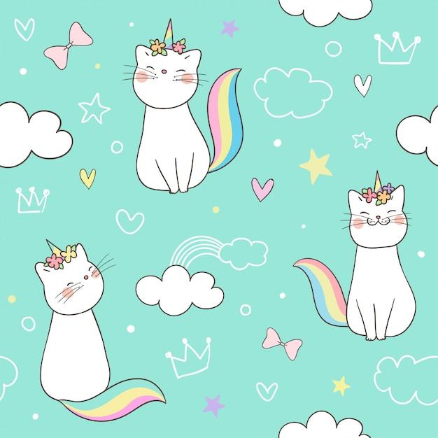 Unicorno senza cuciture del gatto del gattino del modello su pastello. Vettore Premium