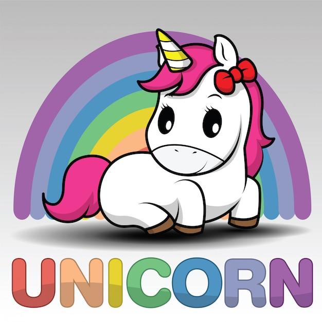 Unicorno sorridente del fumetto sveglio su una priorità bassa bianca Vettore Premium